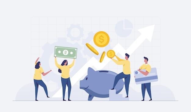 Bénéfices des investissements en actions. économiser de l'argent concept financier. personnes plates insérant de l'argent dans la tirelire. illustration vectorielle