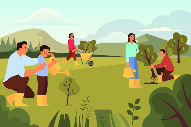 Le bénévolat aide l'idée des gens. la communauté caritative plante un arbre. idée de soin et humanité, concept nature et écologie. illustration