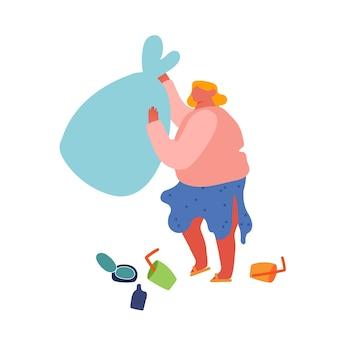 Bénévolat, concept de protection sociale de la charité écologique. personnage féminin bénévole nettoyant les ordures dans la zone du parc de la ville.