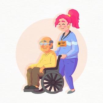 Bénévole aidant un homme âgé