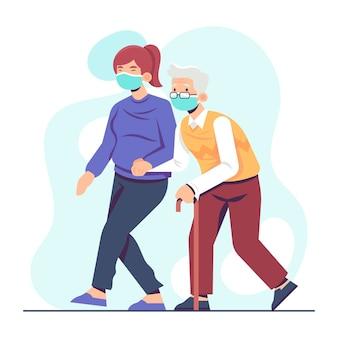 Bénévole aidant les personnes âgées