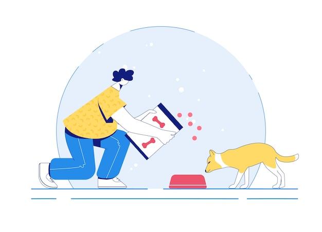 Le bénévole nourrit le chien. aidez le concept d'animaux errants. illustration.