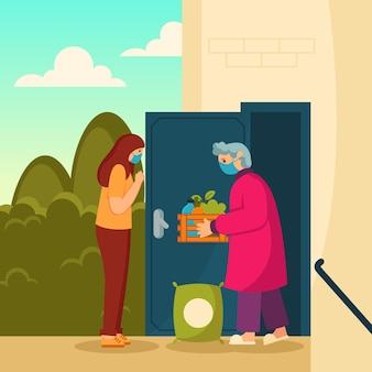 Bénévoles aidant les personnes âgées