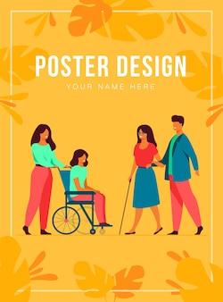 Des bénévoles aident des amis handicapés à marcher en plein air, à diriger des aveugles ou à faire rouler un fauteuil roulant. peut être utilisé pour le handicap, la diversité, le concept d'assistance