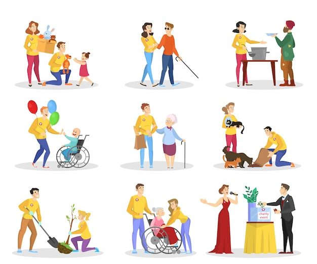 Les bénévoles aident les gens à se fixer. collection de charité