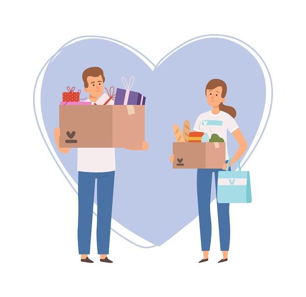 Bénévoles avec boîte de dons. nourriture de noël et coffrets cadeaux, mécénat ou charité. dessin animé homme femme d'illustration vectorielle de service d'aide sociale. aide caritative et don, aide bénévole