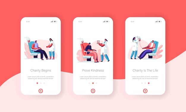Bénévoles donnant du sang ensemble d'écran à bord de l'application mobile