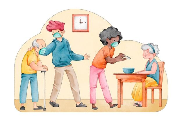 Des bénévoles illustrés aident les personnes âgées