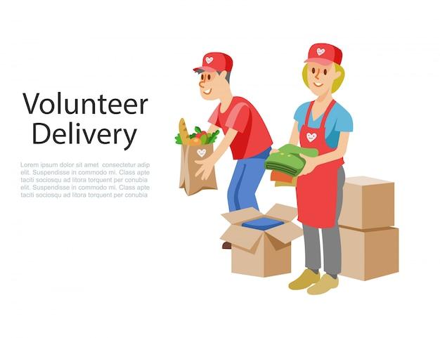 Des bénévoles livrent de la nourriture dans une boîte de dons en carton, des produits d'aide aux personnes pandémiques pauvres ou malades en quarantaine.