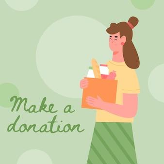 Bénévoles ou travailleur social avec boîte de dons pleine de nourriture une illustration