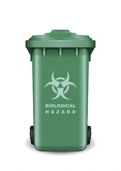 Benne à ordures avec un symbole de menace biologique