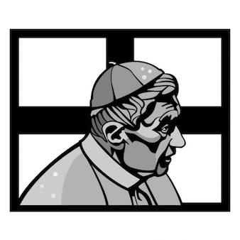 Benoît xvi illustration vectorielle de portrait