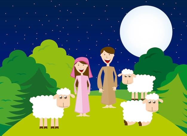 Bergers avec moutons sur vecteur de paysage de nuit