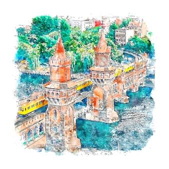 Berlin allemagne aquarelle croquis illustration dessinée à la main