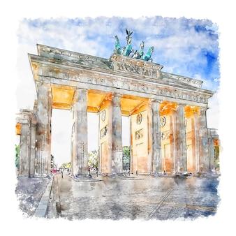 Berlin allemagne aquarelle illustration dessinée à la main