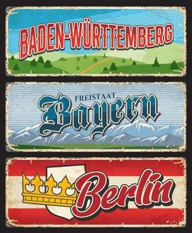 Berlin, bayern et bade wurtemberg allemagne land land plaques métalliques