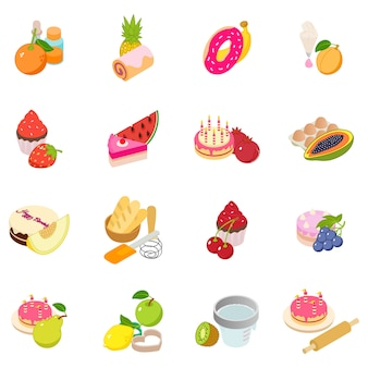 Berry cake icon set