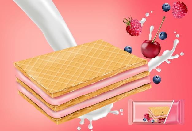 Berry cream gaufres cookies mock up