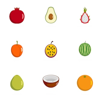 Berry icônes définies, style plat