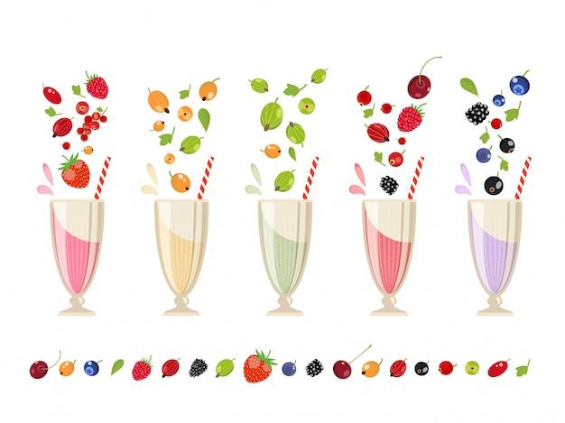 Berry milk-shake ensemble isolé
