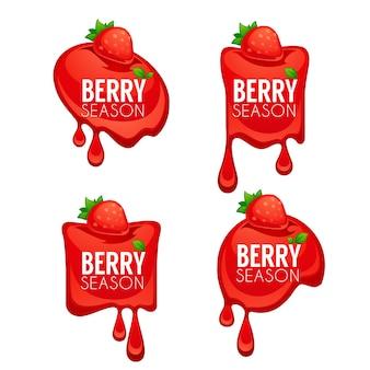 Berry season, collection d'autocollants de brillance et de jus brillant et symboles de fraises pour votre texte