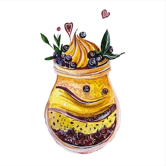 Berry smoothie dessinés à la main illustrations aquarelle set boissons fraîches boissons gazeuses nutrition biologique alimentation saine sur fond blanc collection de peintures aquarelle desserts sucré