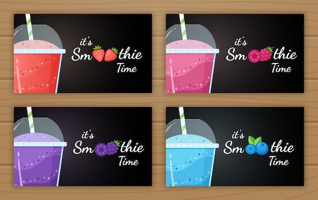 Berry smoothie logo vitamine boisson illustration set