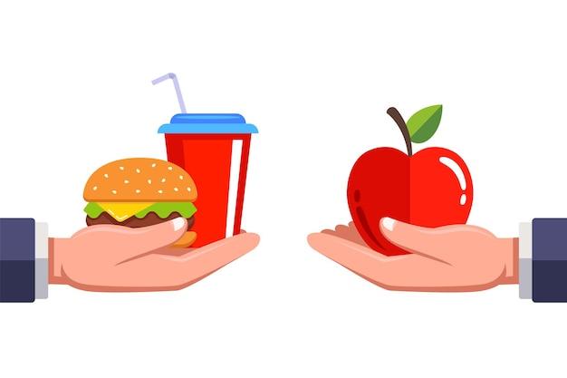 Besoin de décider de la restauration rapide ou de la nourriture saine.