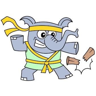 La bête d'éléphant pratique le karaté en cassant du bois, dessine un griffonnage kawaii. illustration vectorielle