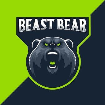 Bête ours mascotte logoo