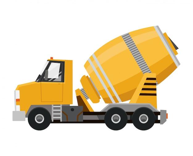 Bétonnière. camion jaune avec équipement spécial.