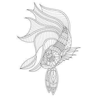 Betta fish mandala zentangle style linéaire