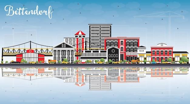 Bettendorf iowa skyline avec bâtiments de couleur, ciel bleu et reflets. illustration vectorielle. voyage d'affaires et tourisme illustration avec l'architecture moderne.
