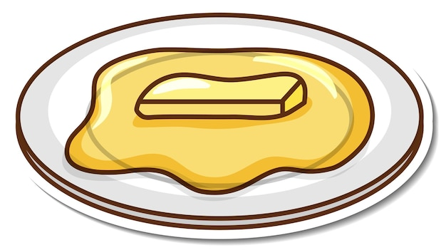 Beurre fondu sur un autocollant de dessin animé de plaque