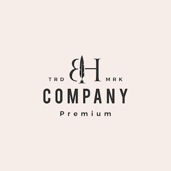 Bh lettre marque stylo plume modèle de logo vintage hipster