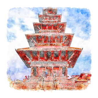 Bhaktapur durbar square aquarelle croquis illustration dessinée à la main