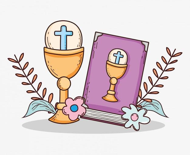 Bibble avec chaliz et hôte de la première communion