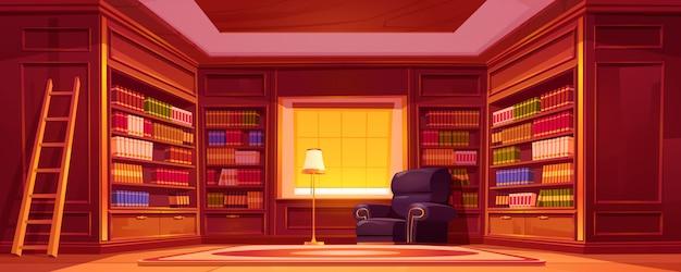 Bibliothèque avec bibliothèques, échelle, chaise et lampe.