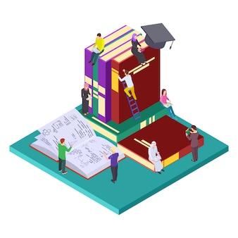 Bibliothèque, concept isométrique de l'éducation. illustration des étudiants et des livres, auto-éducation