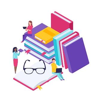 Bibliothèque de dictionnaire d'illustration d'encyclopédie
