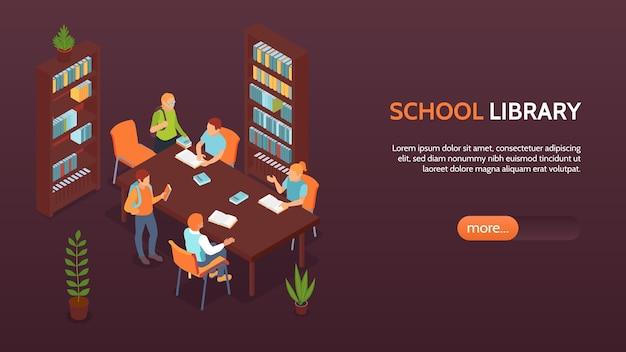 Bibliothèque de l'école avec étagères bannière horizontale avec des élèves qui étudient et discutent de l'isométrique