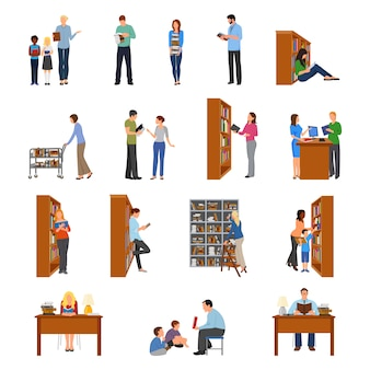 Bibliothèque icons set