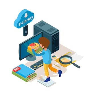 Bibliothèque isométrique. livre et lecteurs de l'éducation en ligne archivage numérique étudiants du collège universitaire apprenant la bibliothèque de l'école