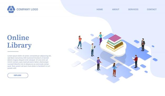 Bibliothèque en ligne ou éducation en nuage avec modèle de site web de livres ou page d'accueil d'atterrissage avec style isométrique