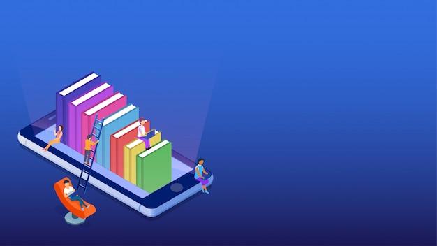 Bibliothèque en ligne isométrique.