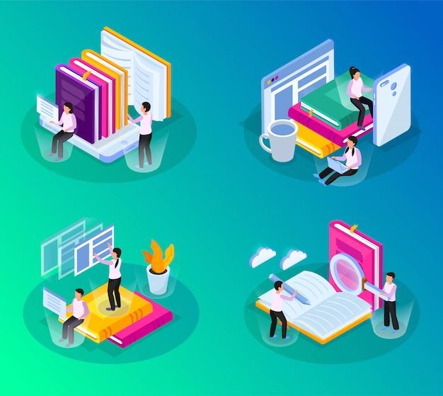 Bibliothèque en ligne lueur isométrique 4x1 avec des compositions d'images conceptuelles avec des livres, des gadgets et des personnes