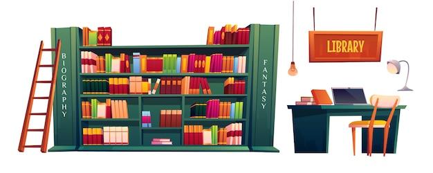 Bibliothèque avec livres sur étagères et ordinateur portable sur table