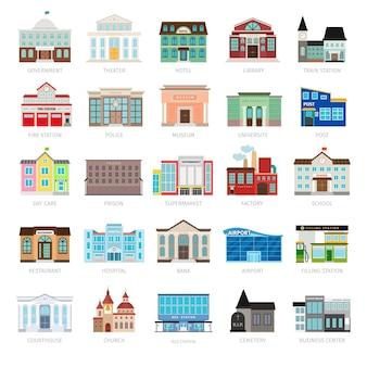 Bibliothèque municipale et banque de la ville, ensemble d'icônes vectorielles à l'hôpital et à l'école. icônes colorées de bâtiment de gouvernement urbain