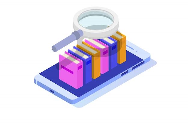 Bibliothèque numérique en ligne isométrique, librairie en ligne, e-learning, ebook. illustration.