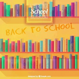 Bibliothèque peinte à l'aquarelle pour retourner à l'école